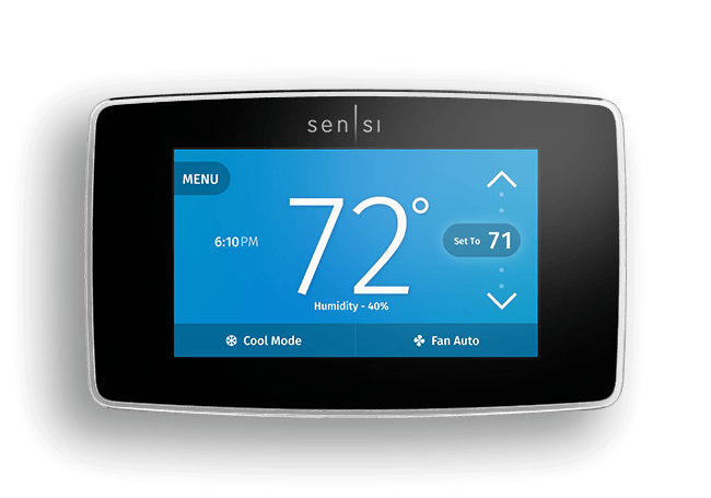 Sensi Touch Wi-Fi Thermostat Connected comfort in color.